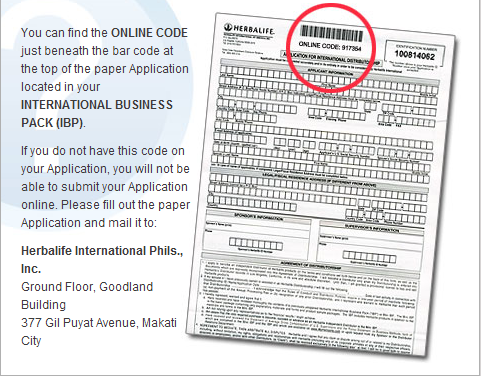 You can find the ONLINE CODE just beneath the bar code at the top of the paper Application located in your INTERNATIONAL BUSINESS PACK (IBP)